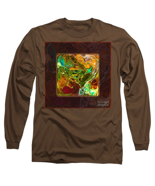 Long Sleeve T-Shirt featuring the painting Vibrant Fall Colors An Abstract Painting by Omaste Witkowski