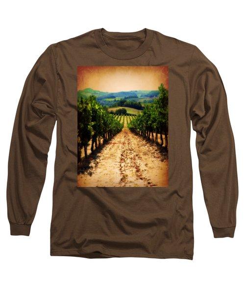 Vigneto Toscana Long Sleeve T-Shirt by Micki Findlay