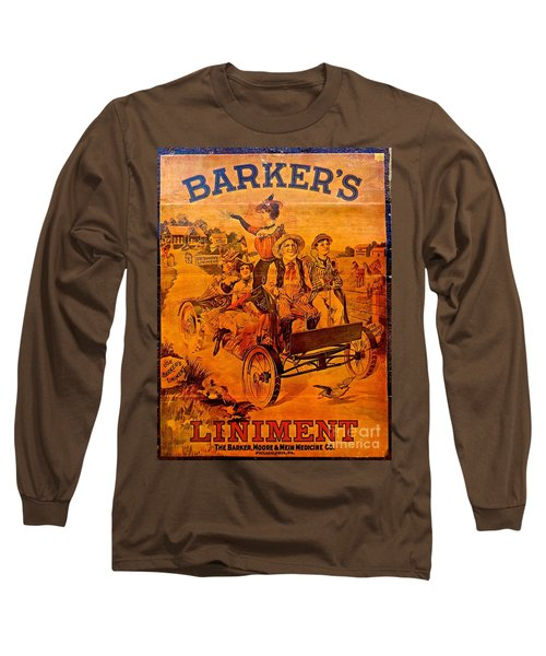 Vintage Ad Barker's Liniment Long Sleeve T-Shirt by Saundra Myles