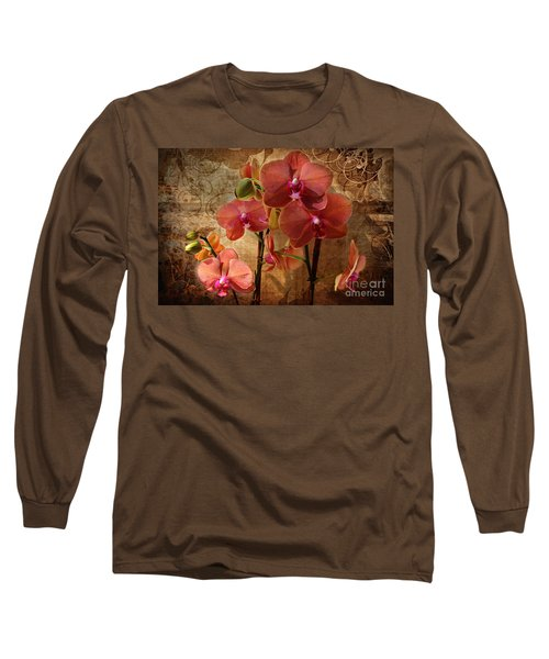 Vintage Burnt Orange Orchids Long Sleeve T-Shirt by Judy Palkimas