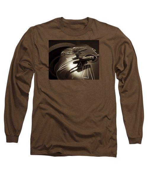 Vintage Hood Ornament - Sepia Art Decoprint Long Sleeve T-Shirt