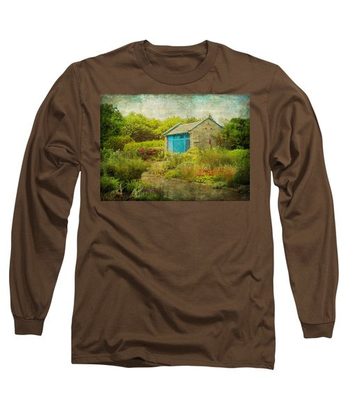 Vintage Inspired Garden Shed With Blue Door Long Sleeve T-Shirt by Brooke T Ryan