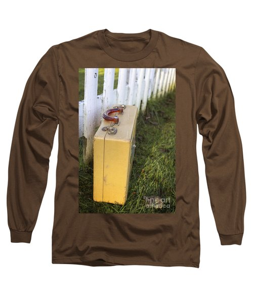 Vintage Luggage Left By A White Picket Fence Long Sleeve T-Shirt