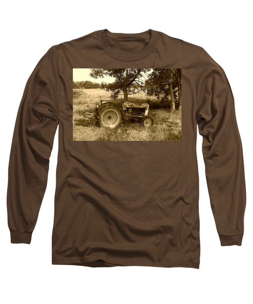 Vintage Tractor In Sepia Long Sleeve T-Shirt by Cynthia Lassiter
