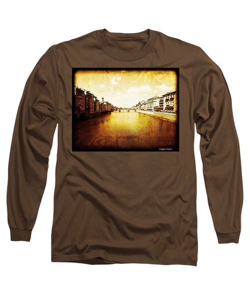Vintage View Of River Arno Long Sleeve T-Shirt