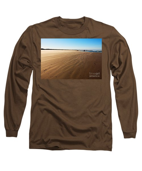 Walking On Windy Beach. Long Sleeve T-Shirt