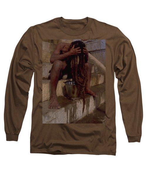 Long Sleeve T-Shirt featuring the photograph Varanasi Hair Wash by Travel Pics