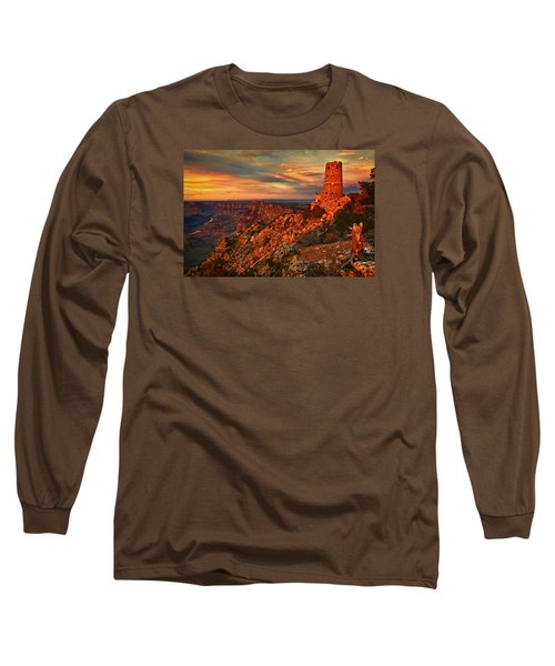 Long Sleeve T-Shirt featuring the photograph Watchtower Sunset by Priscilla Burgers