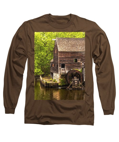 Long Sleeve T-Shirt featuring the photograph Water Wheel At Philipsburg Manor Mill House by Jerry Cowart