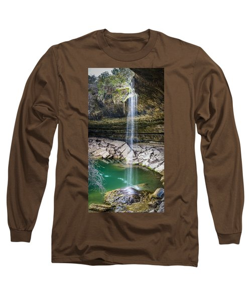 Waterfall At Hamilton Pool Long Sleeve T-Shirt