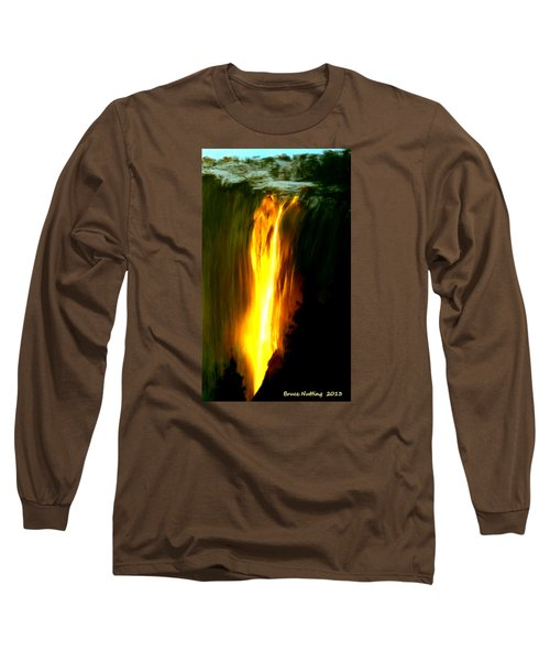Long Sleeve T-Shirt featuring the painting Waterfalls By Light by Bruce Nutting
