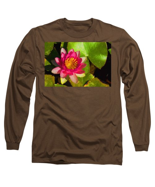 Waterlily Impression In Fuchsia And Pink Long Sleeve T-Shirt