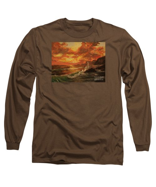 Long Sleeve T-Shirt featuring the painting Wave Crash by Vanessa Palomino