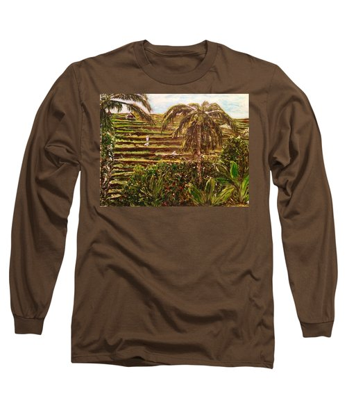 Long Sleeve T-Shirt featuring the painting We Work Hard For The Money by Belinda Low