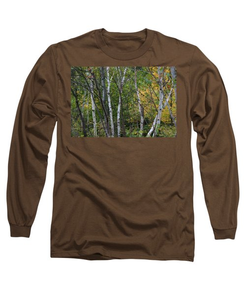 Long Sleeve T-Shirt featuring the photograph White Birches In The Woods by Denyse Duhaime