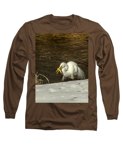 White Egret Snowy Bank Long Sleeve T-Shirt by Robert Frederick