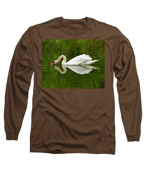 Long Sleeve T-Shirt featuring the photograph Graceful White Swan Heart  by Jerry Cowart