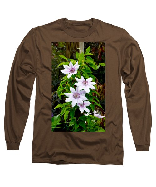 White With Purple Flowers 2 Long Sleeve T-Shirt