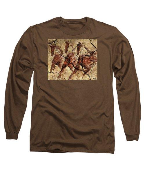 Wild Horses - Cave Art Long Sleeve T-Shirt by Dragica  Micki Fortuna