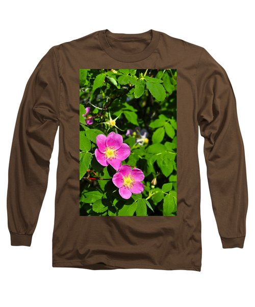 Long Sleeve T-Shirt featuring the photograph Wild Roses by Cathy Mahnke