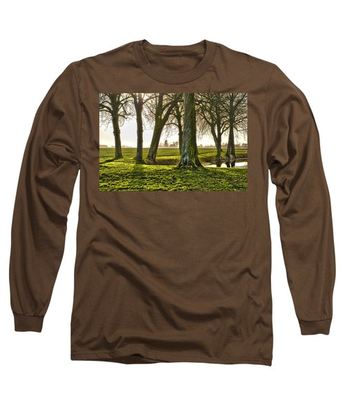 Windmill And Trees In Groningen Long Sleeve T-Shirt by Frans Blok