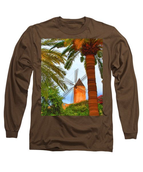 Windmill In Palma De Mallorca Long Sleeve T-Shirt