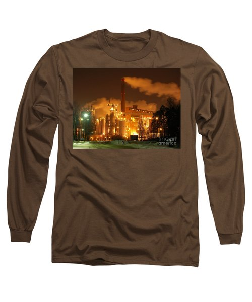 Winter Night At Sunila Pulp Mill Long Sleeve T-Shirt