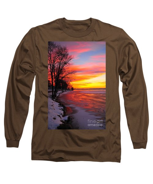 Long Sleeve T-Shirt featuring the photograph Winter Sunrise On Lake Cadillac by Terri Gostola