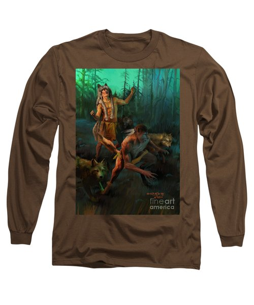 Long Sleeve T-Shirt featuring the painting Wolf Warriors Change by Rob Corsetti