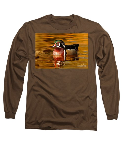 Wood-drake On The Golden Light Long Sleeve T-Shirt by Mircea Costina Photography