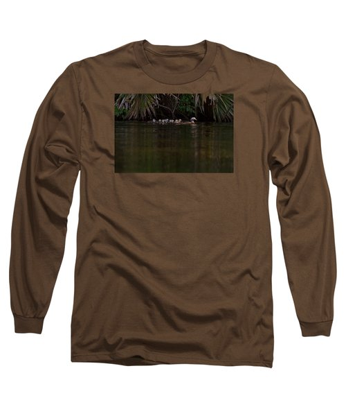 Wood Duck And Ducklings Long Sleeve T-Shirt by Paul Rebmann
