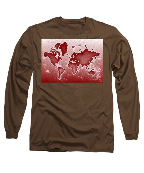 World Map Novo In Red Long Sleeve T-Shirt by Eleven Corners