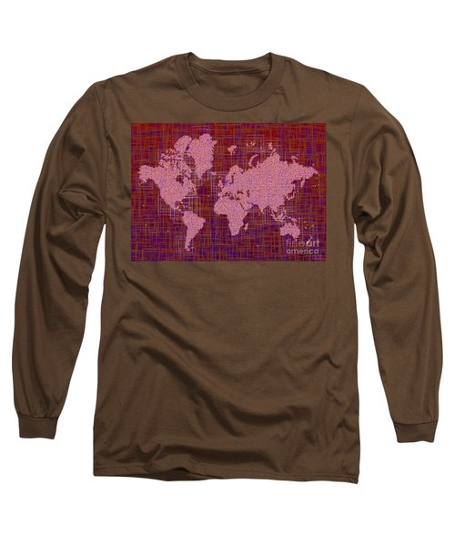 World Map Rettangoli In Pink Red And Purple Long Sleeve T-Shirt by Eleven Corners