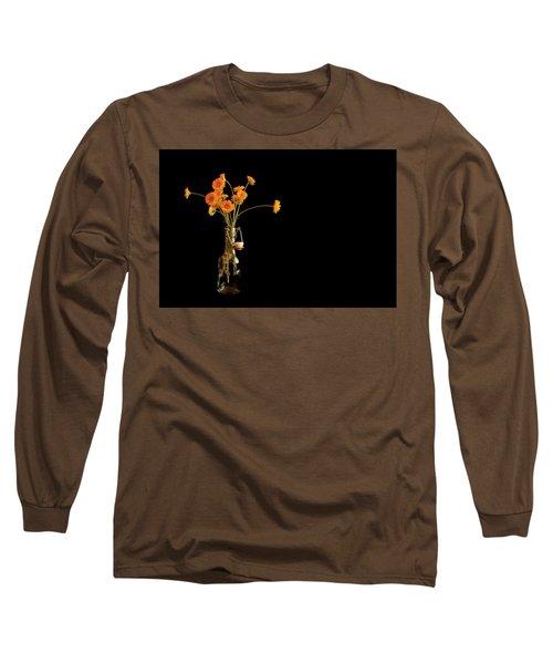 Orange Flowers On Black Background Long Sleeve T-Shirt