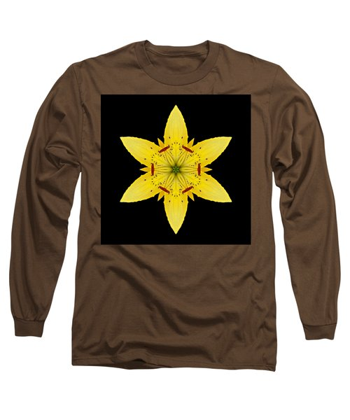 Yellow Lily I Flower Mandala Long Sleeve T-Shirt