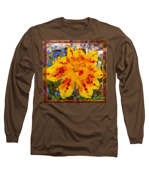 Long Sleeve T-Shirt featuring the painting Yellow Lily With Streaks Of Red Abstract Painting Flower Art by Omaste Witkowski