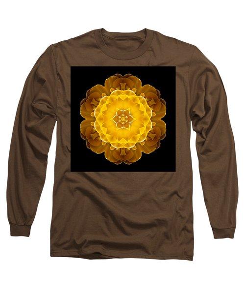 Yellow Tulip II Flower Mandala Long Sleeve T-Shirt