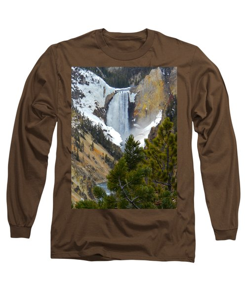 Long Sleeve T-Shirt featuring the photograph Yellowstone Lower Falls In Spring by Michele Myers