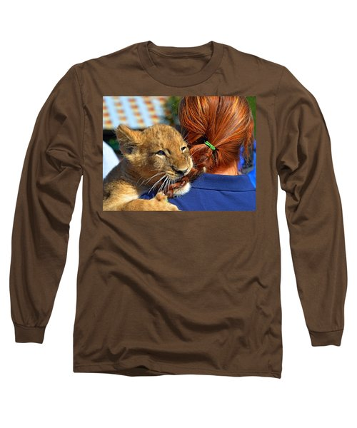 Zootography3 Zion The Lion Cub Likes Redheads Long Sleeve T-Shirt by Jeff at JSJ Photography