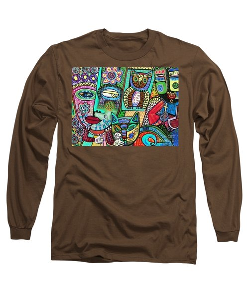 Frida's Garden Owl And Cat Long Sleeve T-Shirt