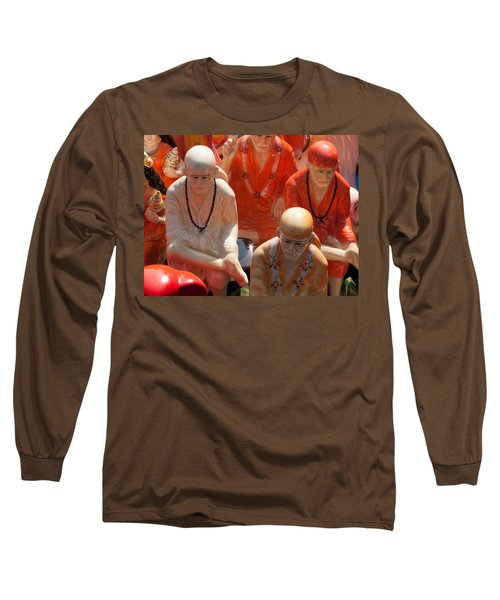 Long Sleeve T-Shirt featuring the photograph A Number Of Statues Of The Shirdi Sai Baba For Sale At Surajkund Mela by Ashish Agarwal