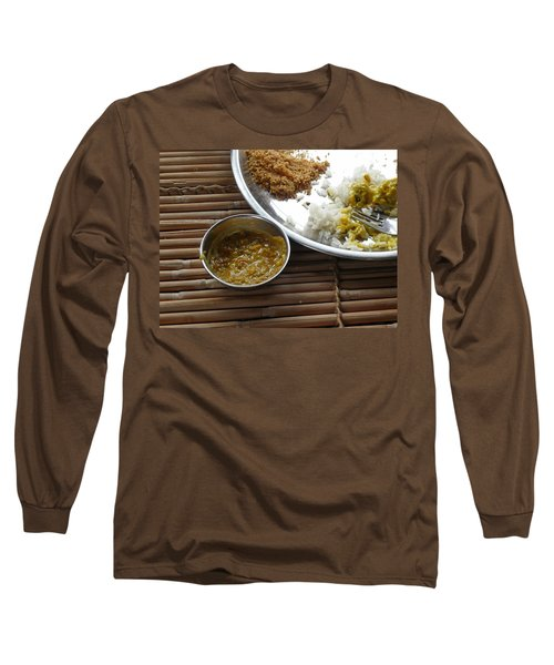 Long Sleeve T-Shirt featuring the photograph A Typical Plate Of Indian Rajasthani Food On A Bamboo Table by Ashish Agarwal