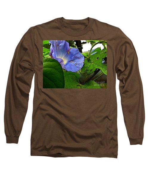 Long Sleeve T-Shirt featuring the digital art Aging Morning Glory by Debbie Portwood