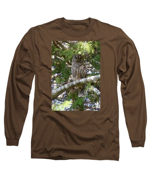 Barred Owl  Long Sleeve T-Shirt by Francine Frank
