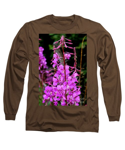 Long Sleeve T-Shirt featuring the photograph Bee On Fireweed In Alaska by Kathy  White