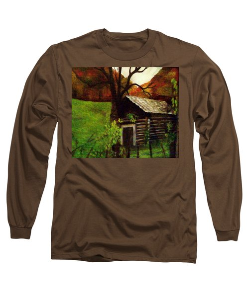 Cabin By A Hillside Long Sleeve T-Shirt by Christy Saunders Church