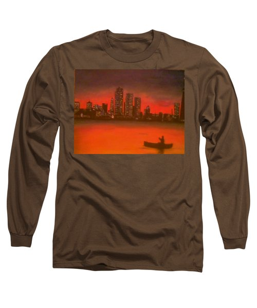 Canoe By The City Long Sleeve T-Shirt by Christy Saunders Church