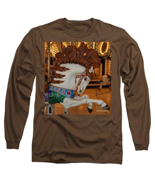 Carousel Horse Brown Mane Long Sleeve T-Shirt