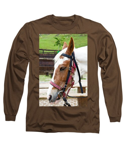 Long Sleeve T-Shirt featuring the photograph Closeup Of Horse by Yew Kwang