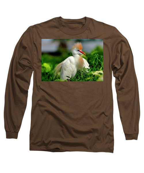 Colorful Cattle Egret Long Sleeve T-Shirt